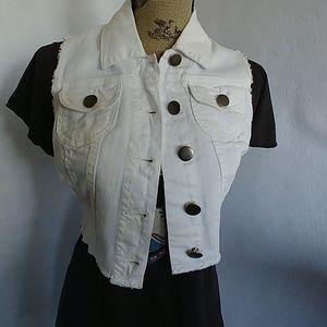 2.1 Denim Women's White Raw Edge Vest